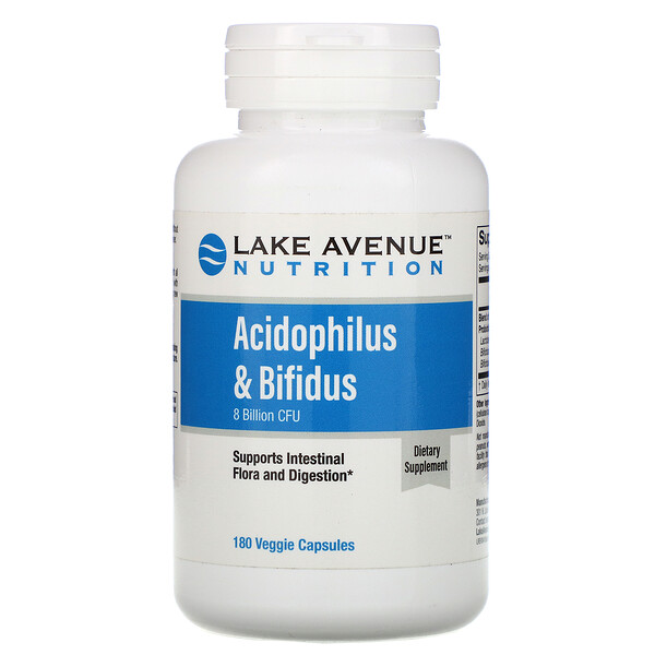 Lake Avenue Nutrition, Acidophilus & Bifidus, Probiotic Blend, 8 Billion CFU, 180 Veggie Capsules