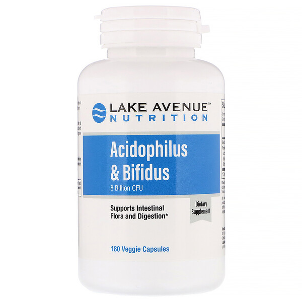 Lake Avenue Nutrition, Acidophilus & Bifidus, 8 Billion CFU, 180 Veggie Capsules