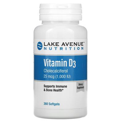 Lake Avenue Nutrition витаминD3, 25мкг (1000МЕ), 360капсул