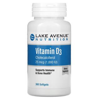 Lake Avenue Nutrition, VitaminD3, 25mcg (1.000IU), 360Weichkapseln