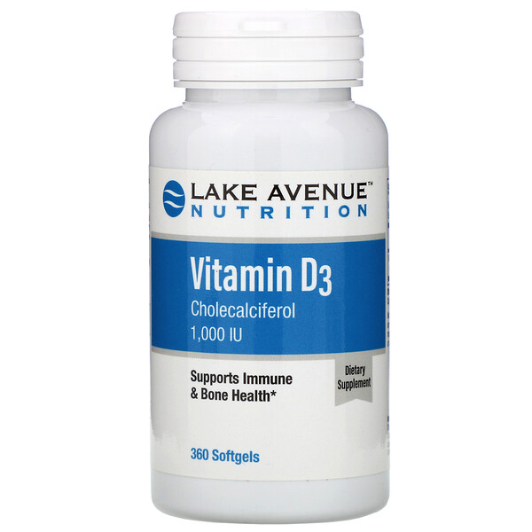 Lake Avenue Nutrition, Vitamin D3, 1,000 IU, 360 Softgels
