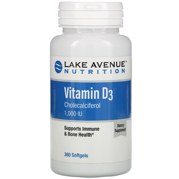 Vitamin D3, 1,000 IU, 360 Softgels