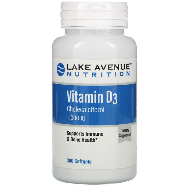 Lake Avenue Nutrition, Vitamina D3, 1000 UI, 360 cápsulas blandas (Discontinued Item)