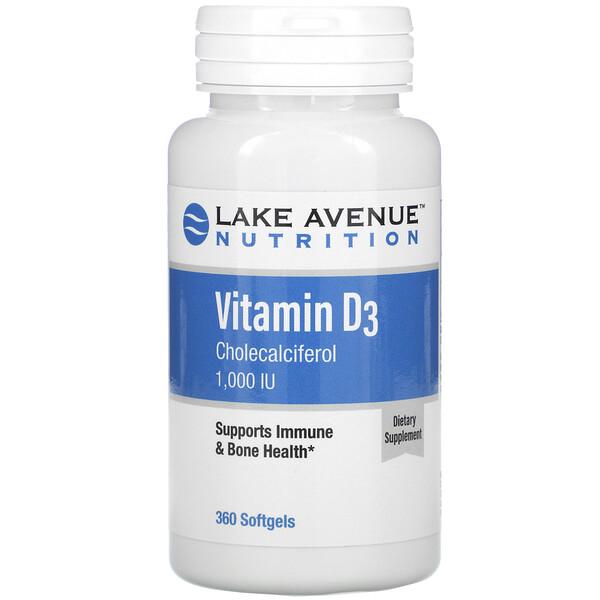 Lake Avenue Nutrition, فيتامين د3، 1,000 وحدة دولية، 360 كبسولة هلامية (Discontinued Item)