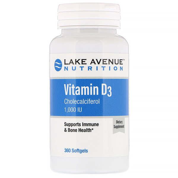 Lake Avenue Nutrition, Vitamina D3, 1000 UI, 360 cápsulas blandas