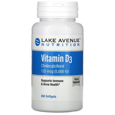 Lake Avenue Nutrition витаминD3, 125мкг (5000МЕ), 360капсул