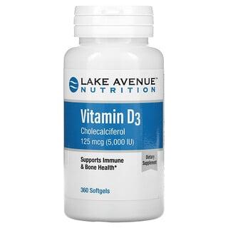 Lake Avenue Nutrition, VitaminD3, 125mcg (5.000IU), 360Weichkapseln