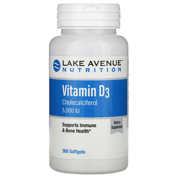 Lake Avenue Nutrition, Vitamin D3, 5,000 IU, 360 Softgels