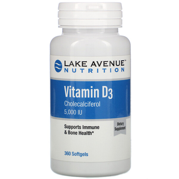 "Lake Avenue Nutrition, ויטמין D3, 5,000 יב""ל, 360 כמוסות ג'ל"