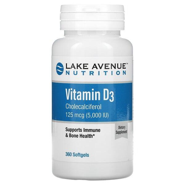 Vitamin D3, 125 mcg (5,000 IU), 360 Softgels