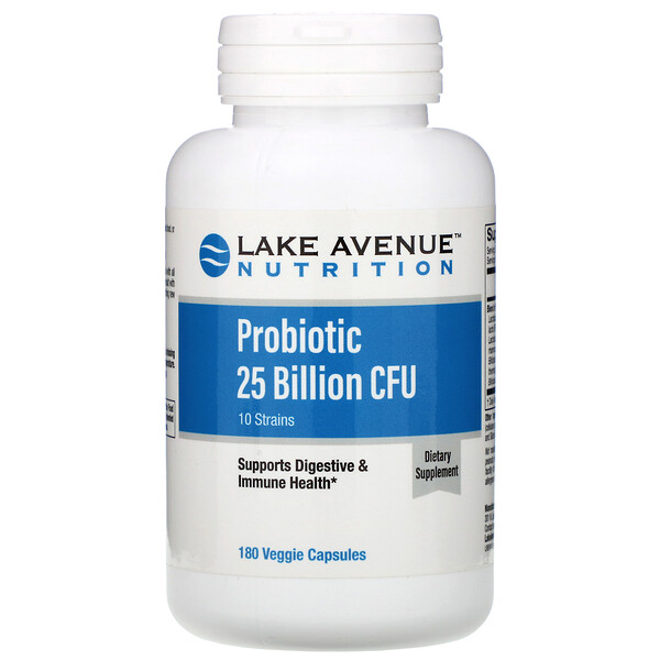 Lake Avenue Nutrition, Probiotics, 10 Strain Blend, 25 Billion CFU, 180 Veggie Capsules