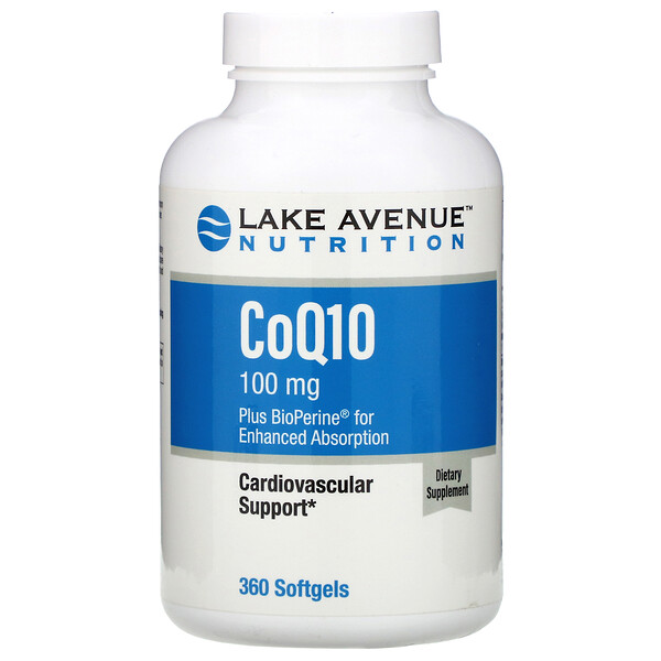 Lake Avenue Nutrition, CoQ10 USP with Bioperine, 100 mg, 360 Softgels