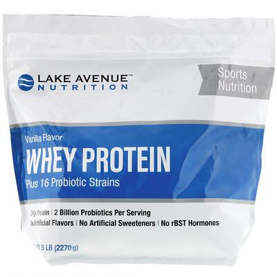 Купить Lake Avenue Nutrition Сывороточный протеин и пробиотики, ванильный вкус, 2270г (5фунтов)