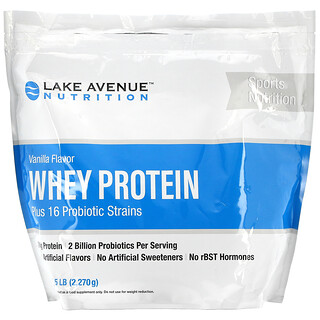 Lake Avenue Nutrition, بروتين الشرش + البروبيوتيك، بنكهة الفانيليا، 5 أرطال (2270 جم)