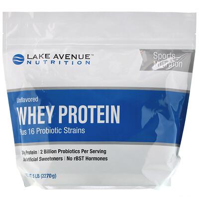 Купить Lake Avenue Nutrition Сывороточный протеин и пробиотики, с нейтральным вкусом, 2270г (5фунтов)