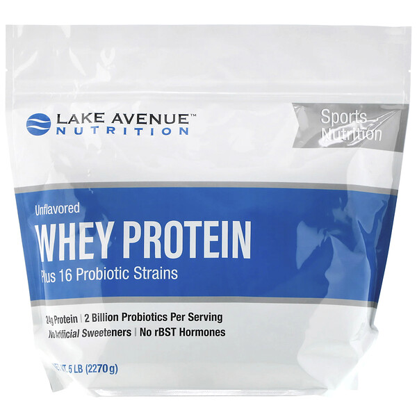 Lake Avenue Nutrition, Whey Protein + Probiotics, Unflavored, 5 lb (2270 g)