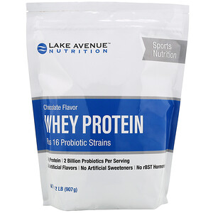 Lake Avenue Nutrition, Whey Protein + Probiotic, Chocolate Flavor, 2 lb (907 g)