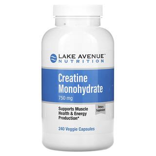 Lake Avenue Nutrition, Creatine Monohydrate, 750 mg, 240 Veggie Capsules