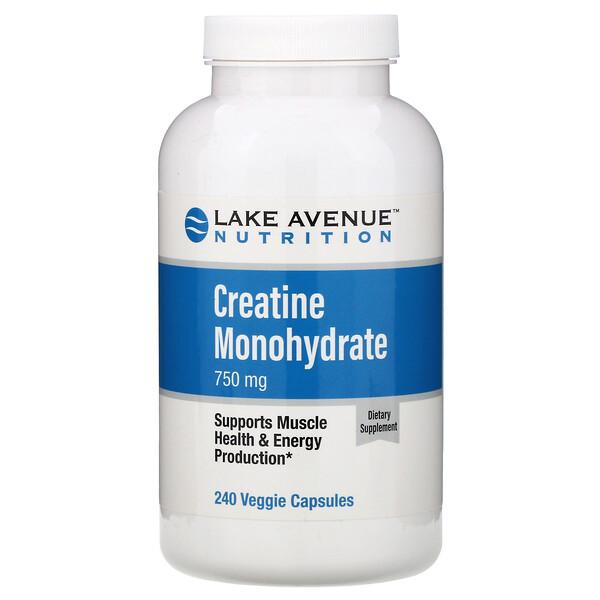 Lake Avenue Nutrition, Creatina Monohidratada, 750 mg, 240 Cápsulas Vegetais
