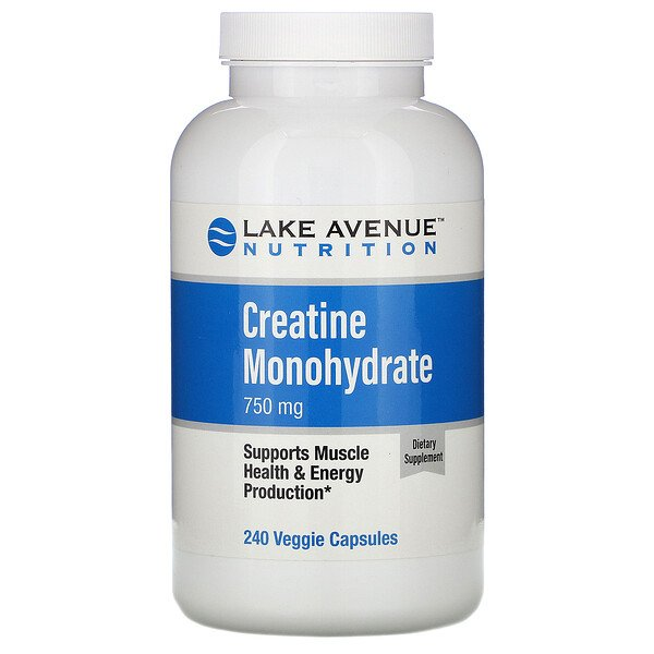 Lake Avenue Nutrition, Creatine Monohydrate, 750 mg, 240 Veggie Capsules