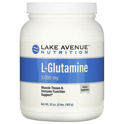 Купить Lake Avenue Nutrition L-глутамин, без ароматизатора, 5000 мг, 907 г (32 унции)