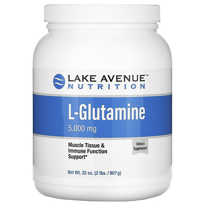 Lake Avenue Nutrition порошок L-глютамина, с нейтральным вкусом, 5000мг, 907г (32унции)