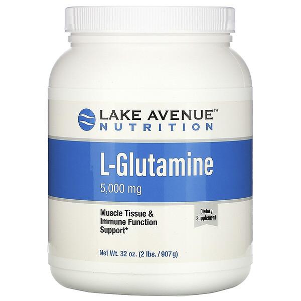 مسحوق ل- جلوتامين، خالٍ من النكهات، 5,000 ملجم، 32 أونصة (907 جم)
