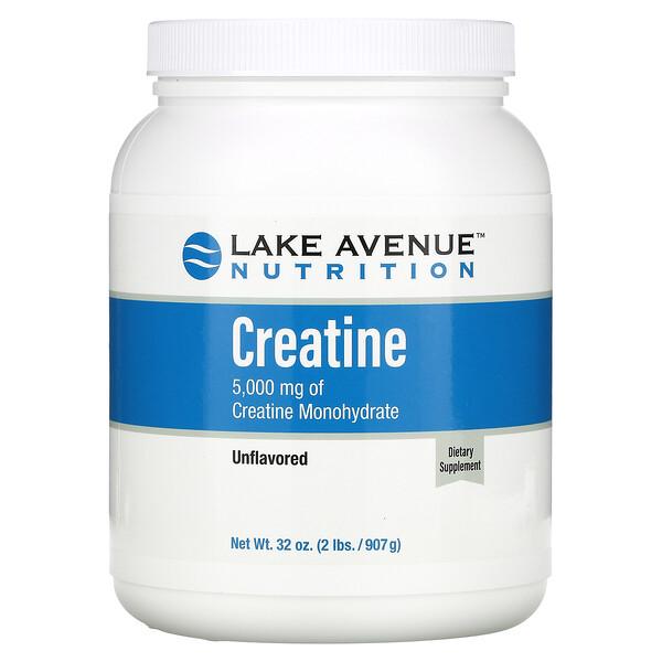 Lake Avenue Nutrition, مسحوق كرياتين، بدون نكهات، 5,000 ملجم، 32 أونصة (907 جم)