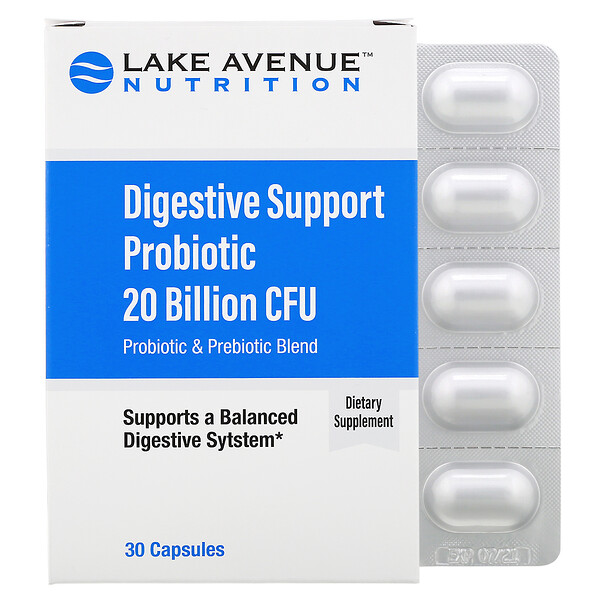 Lake Avenue Nutrition, Digestive Support Probiotic, Probiotic & Prebiotic Blend, 20 Billion CFUs, 30 Capsules