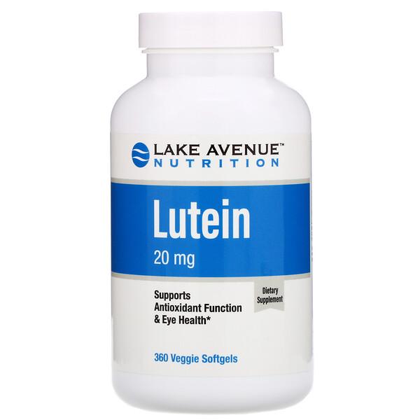 ルテイン、20mg、植物性ソフトジェル360粒