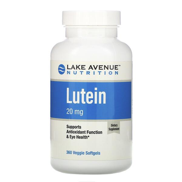 Lake Avenue Nutrition, 루테인, 20mg, 식물성 소프트젤 360정