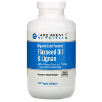 Lake Avenue Nutrition, Organic Cold Pressed Flaxseed Oil & Lignan, Hexane Free, 360 Veggie Softgels
