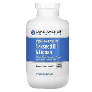 Lake Avenue Nutrition, Organic Cold Pressed Flaxseed Oil & Lignan, Hexane Free, 360 Veggie Softgels
