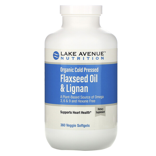 Organic Cold Pressed Flaxseed Oil & Lignan, Hexane Free, 360 Veggie Softgels
