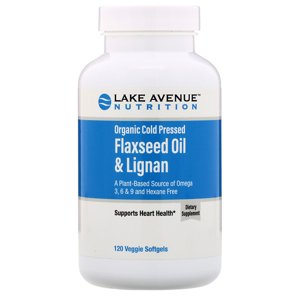 Lake Avenue Nutrition, Organic Cold Pressed Flaxseed Oil & Lignan, Hexane Free, 120 Veggie Softgels