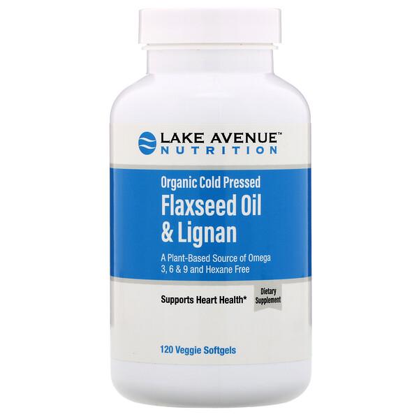 Organic Cold Pressed Flaxseed Oil & Lignan, Hexane Free, 120 Veggie Softgels