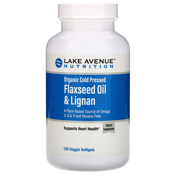 Organic Cold Pressed Flaxseed Oil & Lignan, Hexane Free, 120 Veggie Softgels