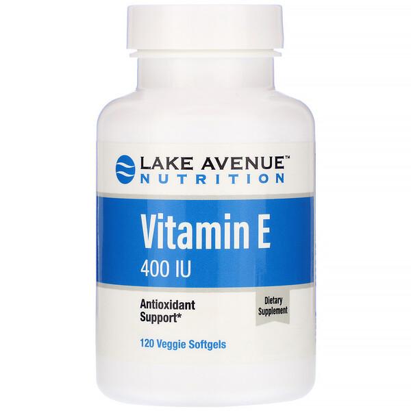 ビタミンE、400IU、植物性ソフトジェル120粒