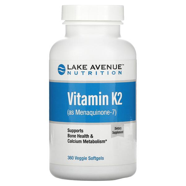 Lake Avenue Nutrition, Vitamin K2 (as Menaquinone-7), 50 mcg, 360 Veggie Softgels
