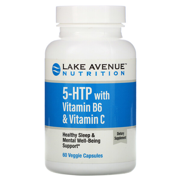 Lake Avenue Nutrition, 5-HTP مع فيتامين B6 وفيتامين C ، 60 كبسولة نباتية