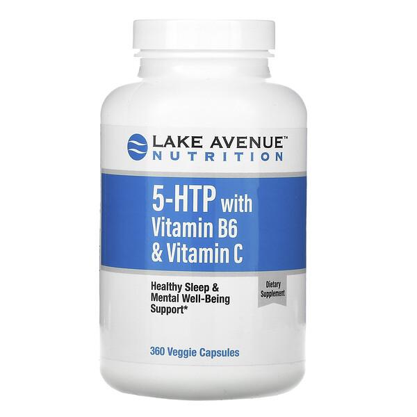 विटामिन बी6 और विटामिन सी के साथ 5-HTP, 360 शाकाहारी कैप्सूल