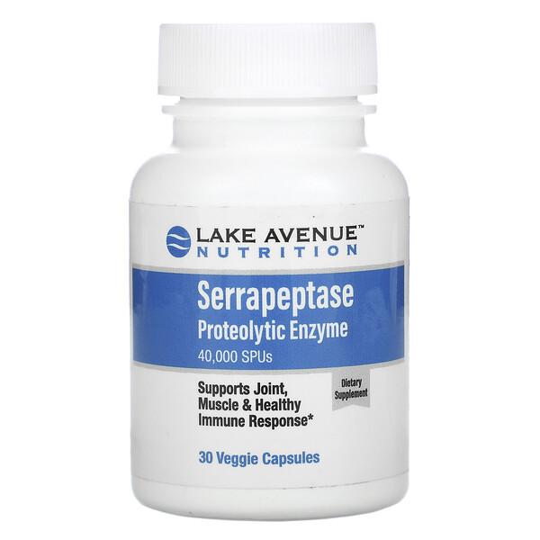 Serrapeptase, Proteolytic Enzyme, 40,000 SPUs, 30 Veggie Capsules