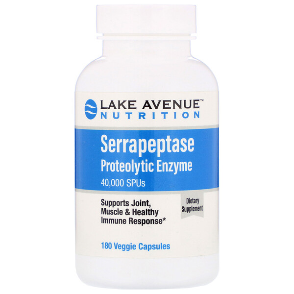 Serrapeptase, Proteolytic Enzyme, 40,000 SPUs, 180 Veggie Capsules