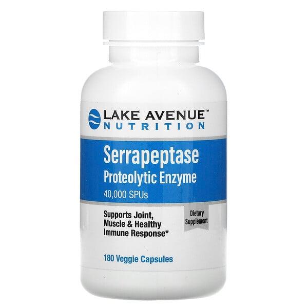 Lake Avenue Nutrition, سيرابيبتاز، إنزيمات بروتينية، 40,000 وحدة سيرابيبتاز، 180 كبسولة نباتية