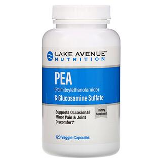 Lake Avenue Nutrition, PEA (Palmitoylethanolamide) + Glucosamine Sulfate, 600 mg + 1,200 mg Per Serving, 120 Veggie Capsules