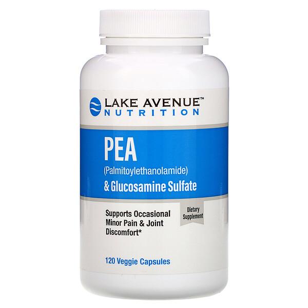 PEA (Palmitoylethanolamide) + Glucosamine Sulfate, 600 mg + 1,200 mg Per Serving, 120 Veggie Capsules