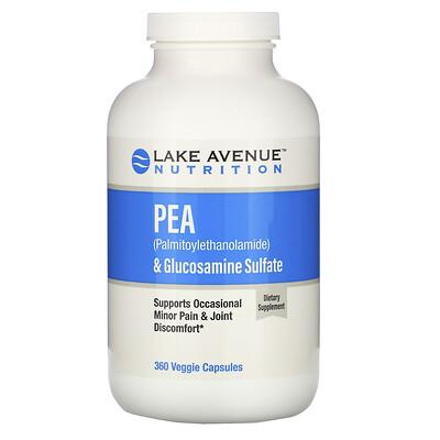 Купить Lake Avenue Nutrition ПЭА (пальмитоилэтаноламид) + сульфат глюкозамина, 600 мг + 1200 мг на порцию, 360 растительных капсул