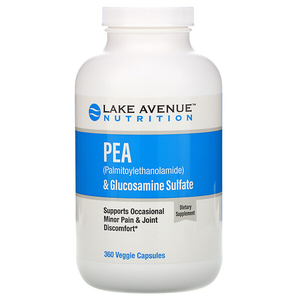 PEA (Palmitoylethanolamide) + Glucosamine Sulfate, 600 mg + 1,200 mg Per Serving, 360 Veggie Capsules