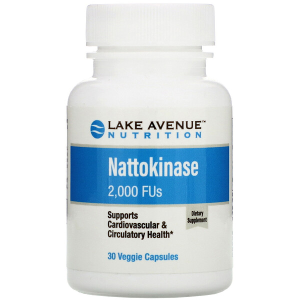 Lake Avenue Nutrition, Nattokinase, Proteolytic Enzyme, 2,000 FUs, 30 Veggie Capsules