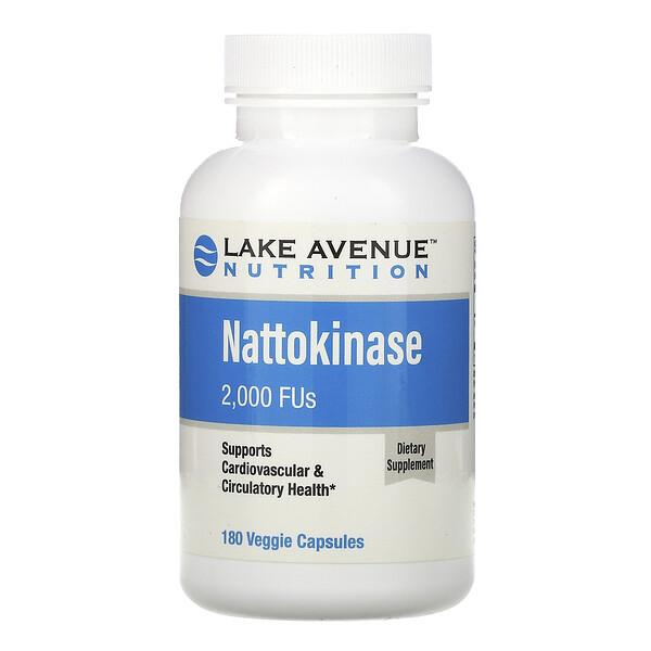 Lake Avenue Nutrition, Nattokinase, Proteolytic Enzyme, 2,000 FUs, 180 Veggie Capsules